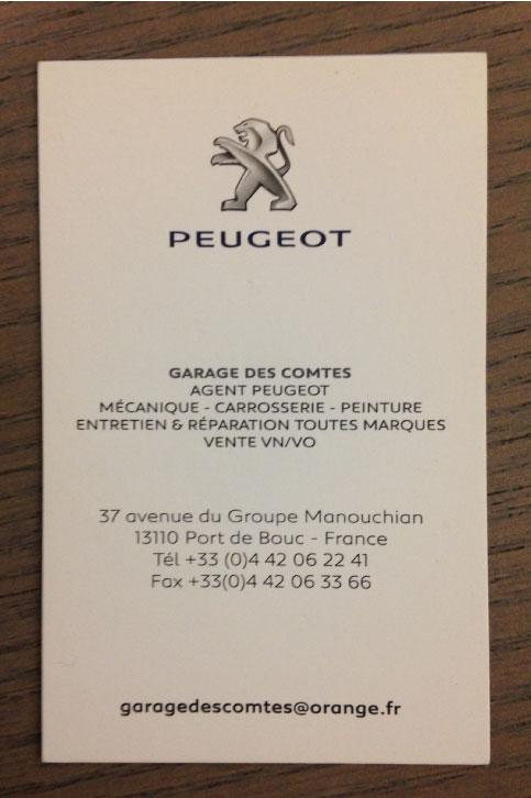92 Carte De Visite Peugeot